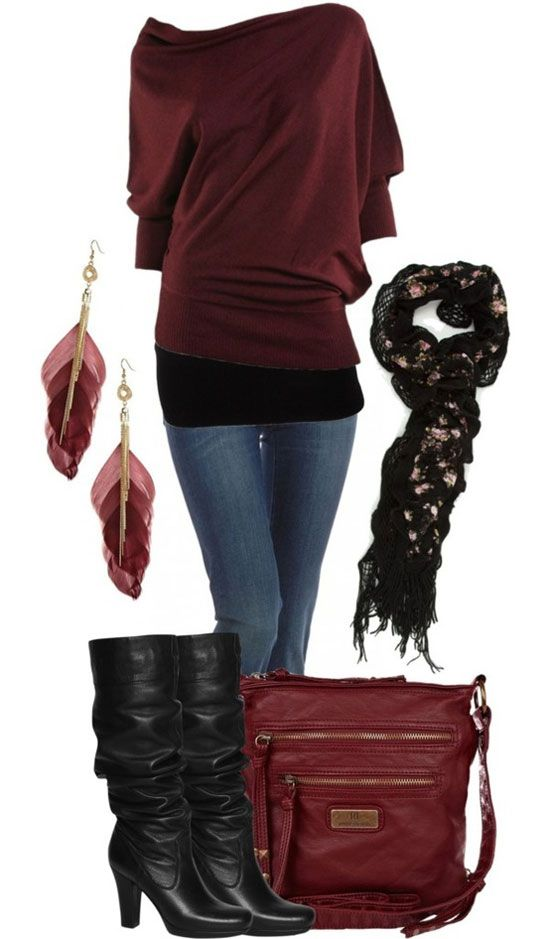 New dark red sweater, jeans, feather ear rings, high heel shoes and hand bag for ladies