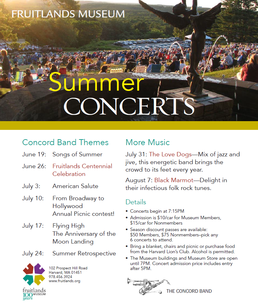 Fruitlands Museum Summer Concerts Poster