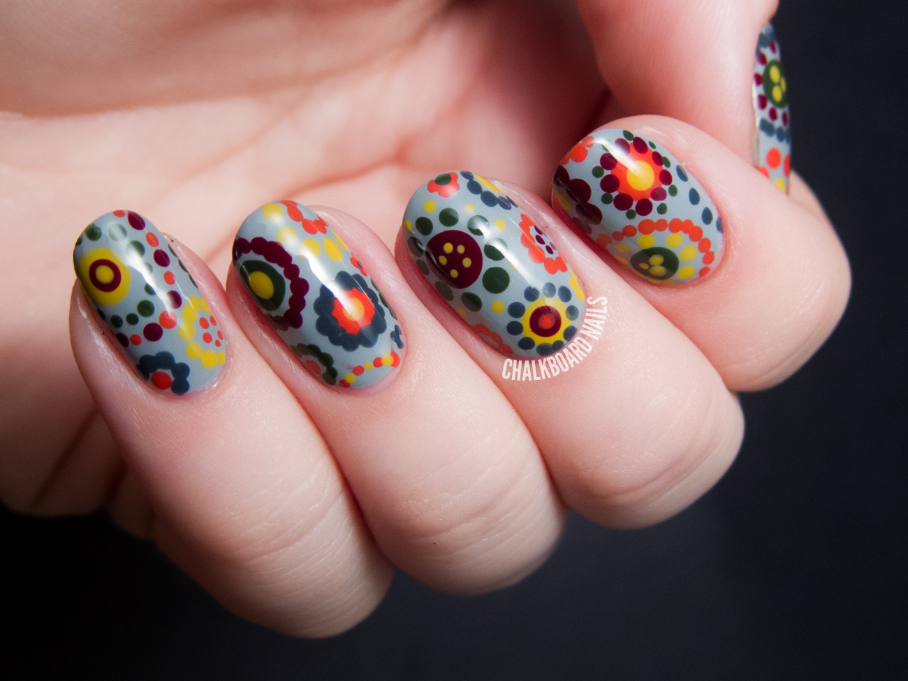 70's Style Polka Dot Floral Print by @chalkboardnails