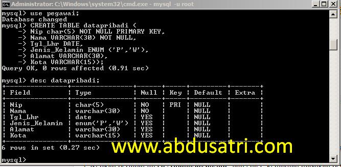 cara buat tabel di database mysql menggunakan cmd