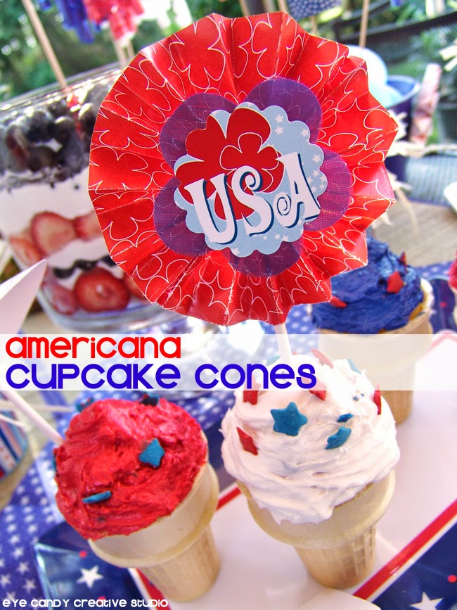 Americana cupcake cones, red white & blue, 4th of july dessert idea