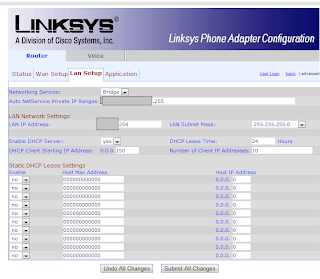 Configurando el Linksys/Cisco SPA3102: LAN Setup