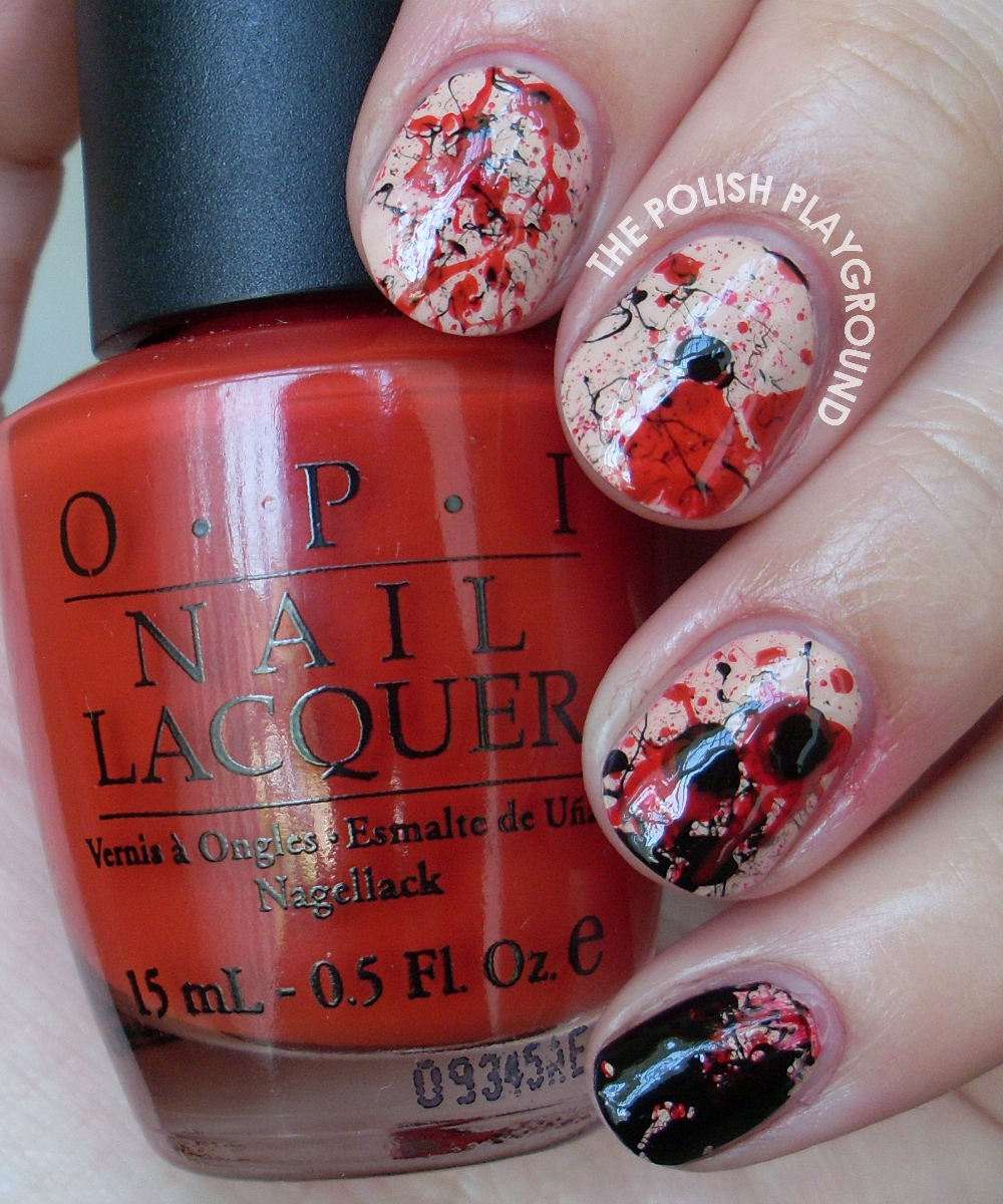 The Vampire Diaires Inspired Splatter Nail Art