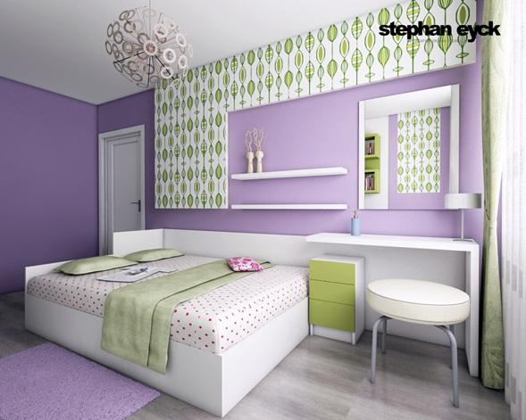 Decoración Baño Lila:Dormitorio Juvenil en Lila, Verde y Blanco