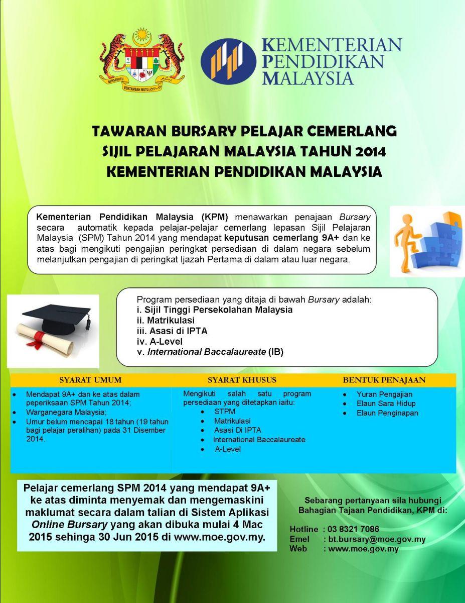 Permohonan Tawaran Bursary Pelajar Cemerlang SPM 2014