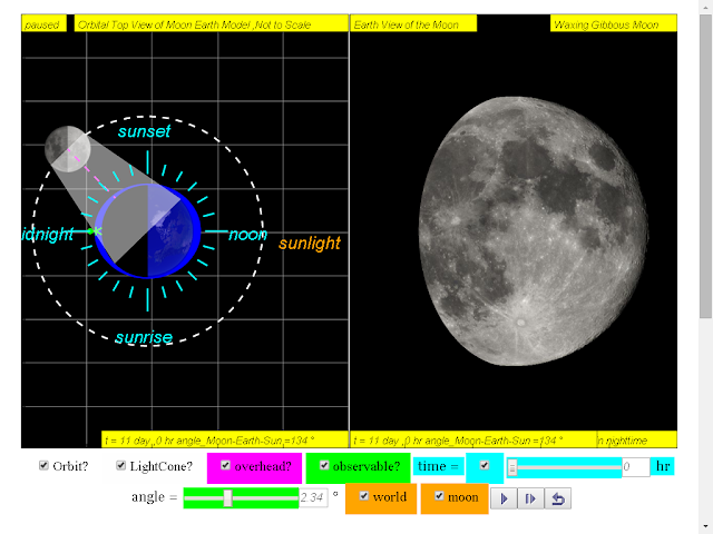 when day =11, it is waxing gibbous moon click to run: EJSS Moon Phases Model offline: DOWNLOAD, UNZIP and CLICK *.html to run source: EJSS SOURCE CODES original author: Todd Timberlake, lookang author of EJSS version: lookang