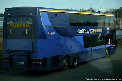 Norrlandskusten, dubbeldäckare, buss, kustbuss, Norrland, Haparanda till Umeå