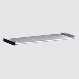 Metal Shower Shelf Length: 450mm. Height: 20mm. Projection: 120mm. Fixing  C/C: 430mm. Backplate: 20 X 20mm. Material: Brass Finish: Chrome