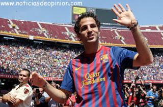 Cesc Fábregas con la camiseta del Barça