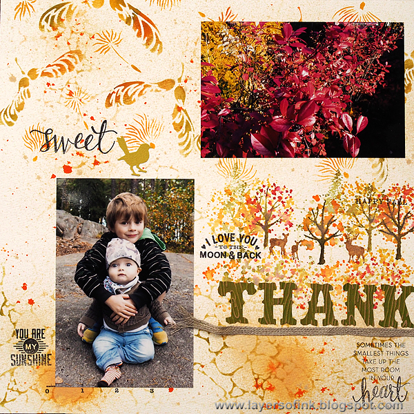 Layers of ink - Thankful Stenciled Layout by Anna-Karin