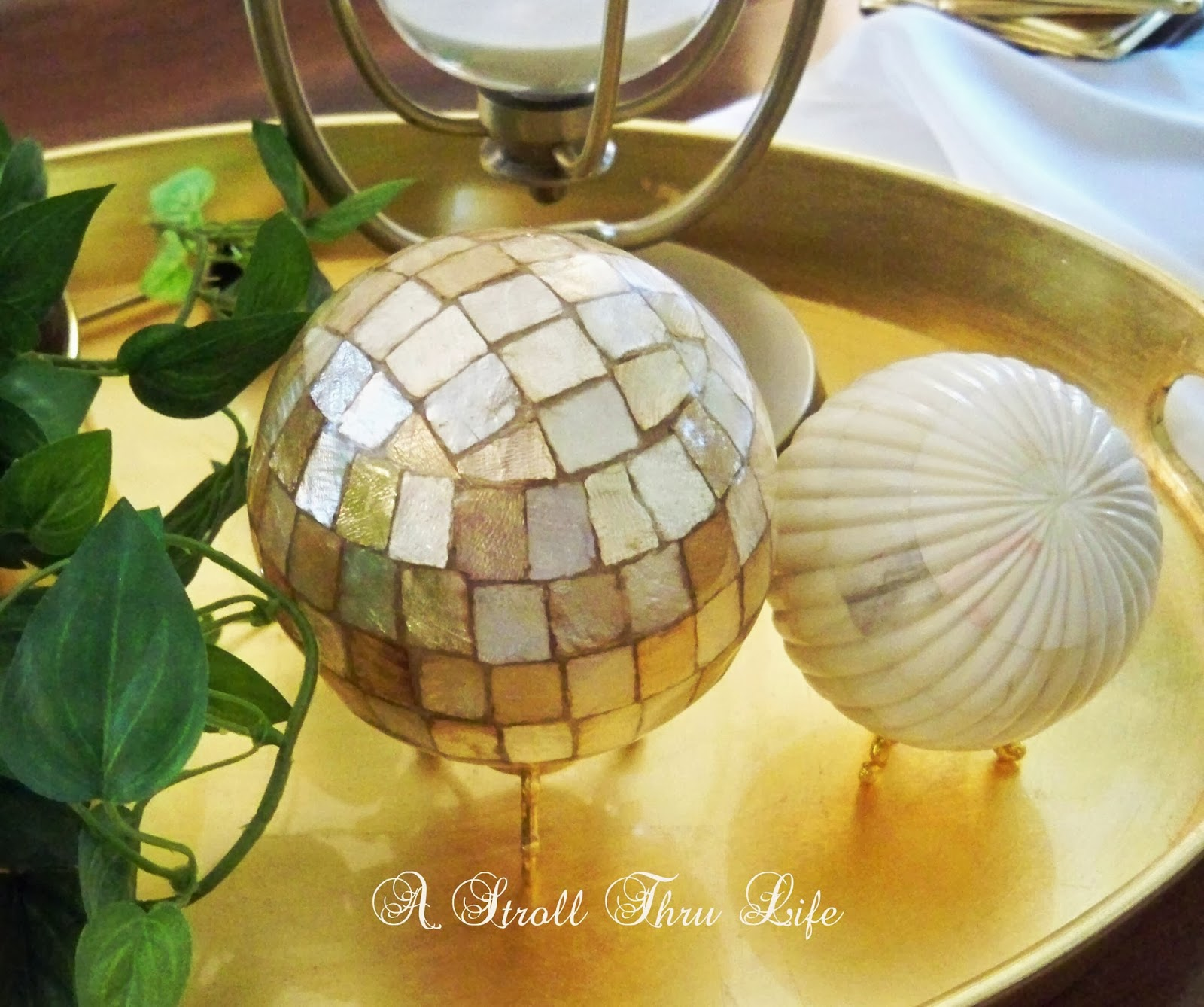 Marble orbs and gold leaf trays at A Stroll Thru Life