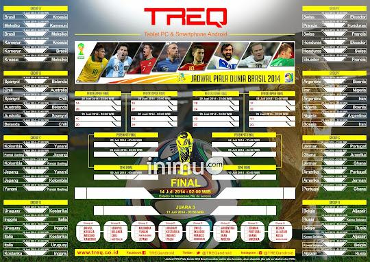 Jadwal siaran langsung Piala Dunia 2014 Brasil by inimu.com