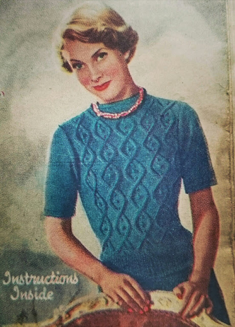 Free 1940's Knitting Pattern Cable-And-Tuft Pattern Jumper