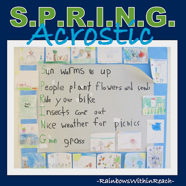 photo of: S.P.R.I.N.G. Acrostic Poem written by First Graders, Collaborative Bulletin Board