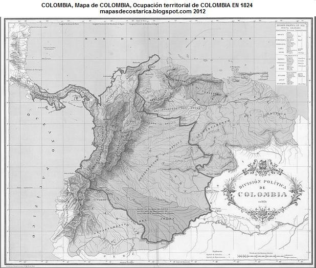Mapa de COLOMBIA , La Gran Colombia 1824