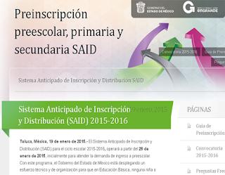 ... para Preinscripciones SAID Primaria Preescolar Secundaria 2015-2016