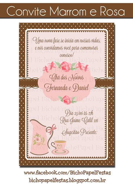 Convite Chá Marrom e Rosa
