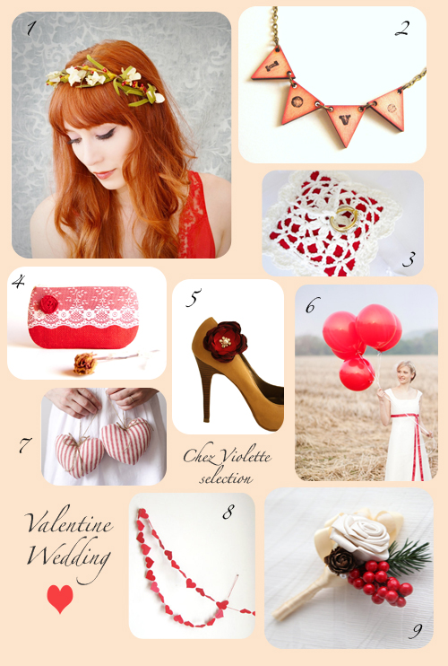 Valentine Wedding red ecru ivory by Chez Violette