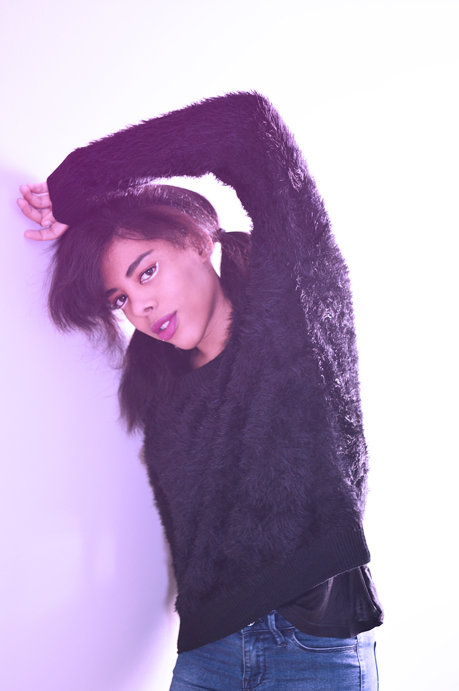 Blipster Indie Fashion Blogger Anais Alexandre of Down to Stars in a fuzzy black sweater