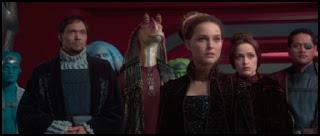Jimmy Smits, Ahmed Best, Natalie Portman, Rose Byrne y Jay Laga'aia en El ataque de los clones (2002)