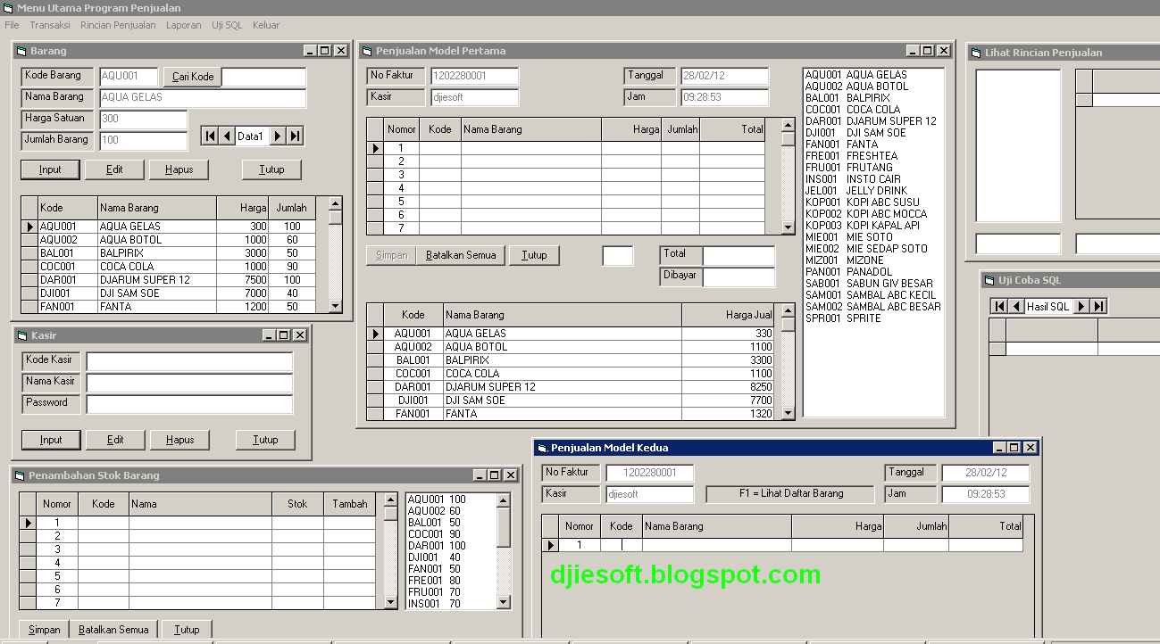 Contoh Program Penjualan Djiesoft All About Source Code