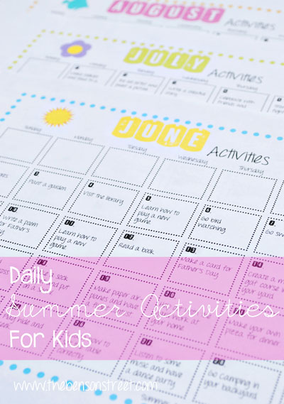 Summer Fun Activity Calendar from The Benson Street