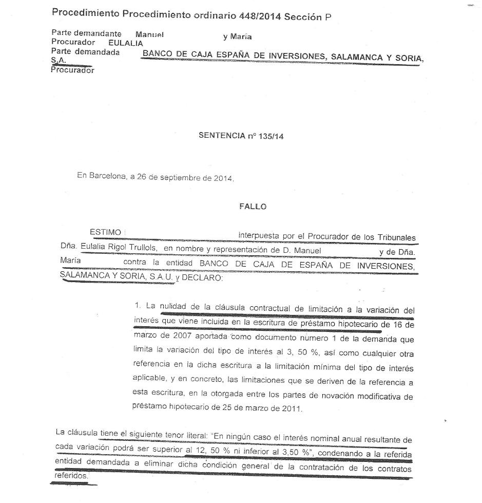 Sentencia cláusula suelo Caja Duero España