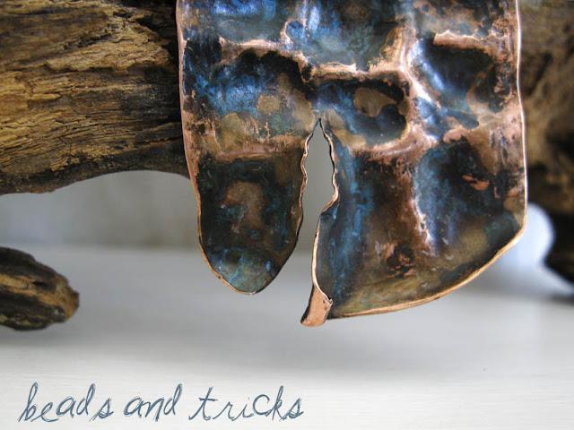 pendente in rame, patina blu, foldforming