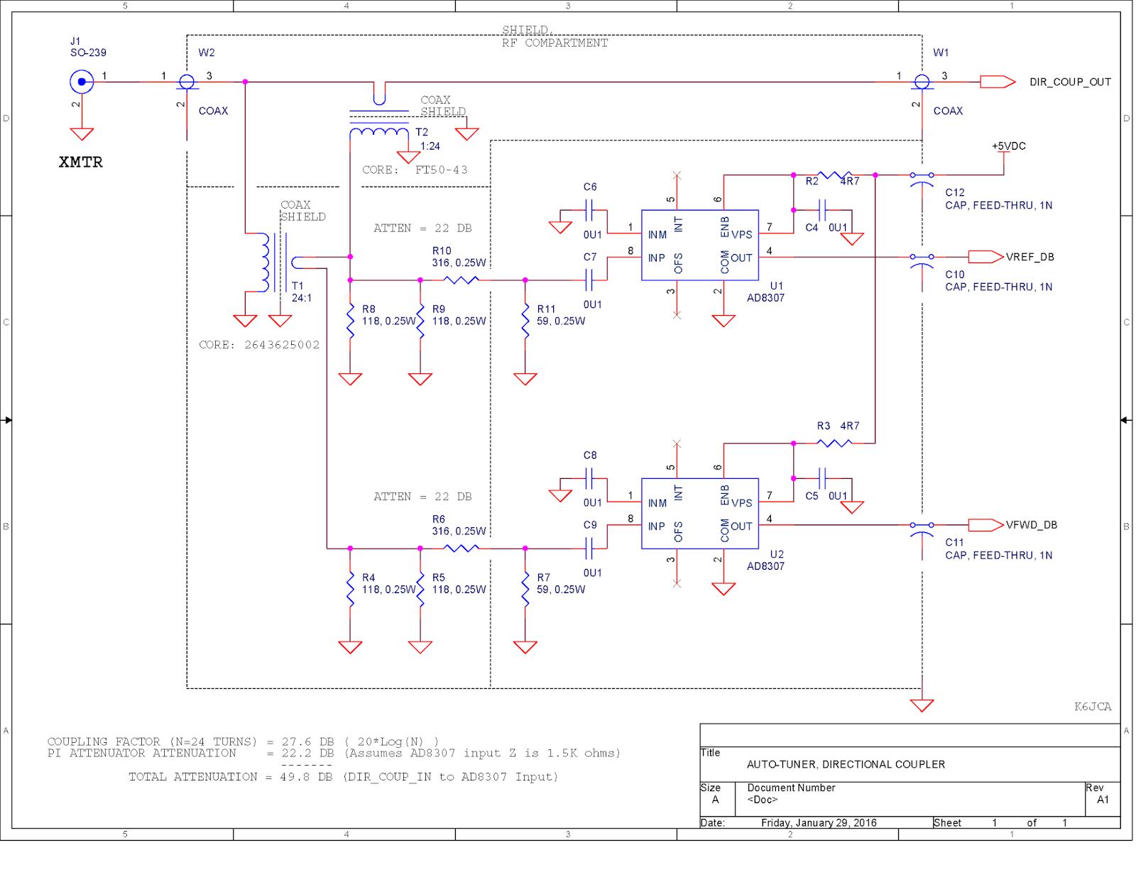 K6jca Antenna Auto Tuner Design Part 10 The Final Schematics Directional Coupler