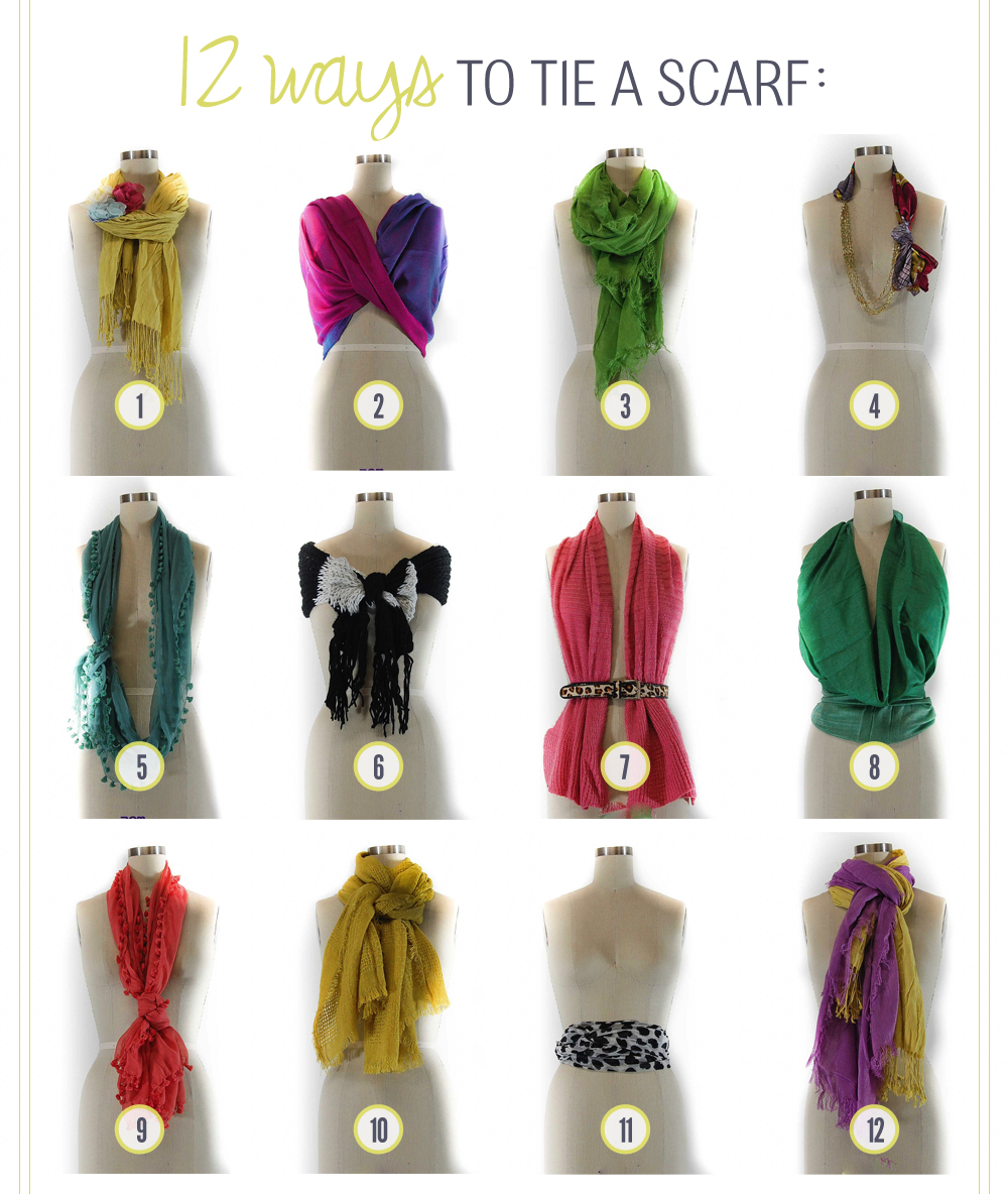 Sophie&Trey 12 Ways to Tie a Scarf Ways To Tie A Scarf For Women Different Ways Tie Scarves Women
