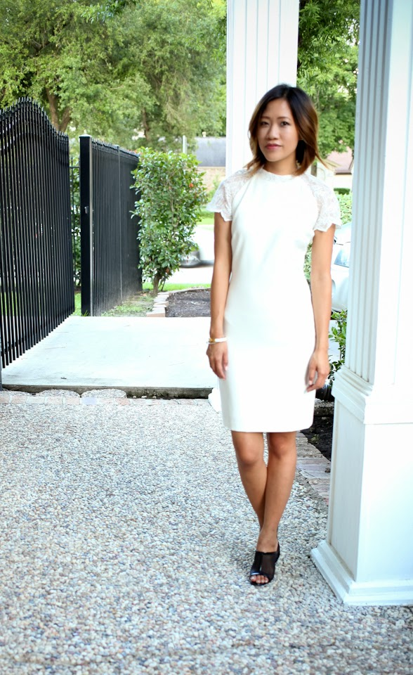 zara white lace dress prada mules