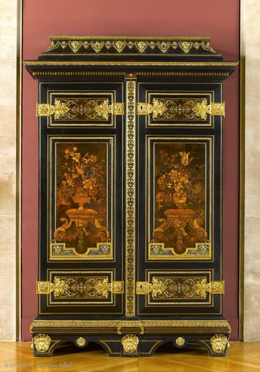 Armoire, Attributed to André-Charles BOULLE, Ebony and kingwood veneer; marquetry of polychrome wood, brass, pewter, tortoiseshell and horn; gilded bronze