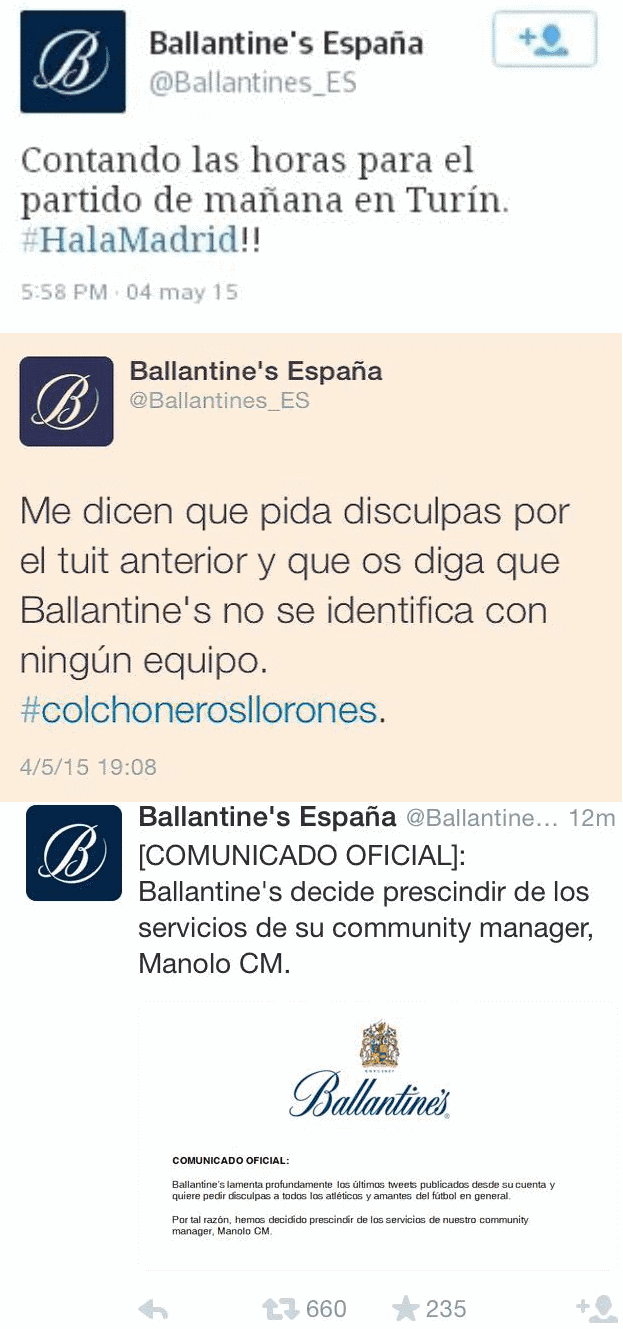 ballantines community manager colchineros madrid boicot twitter