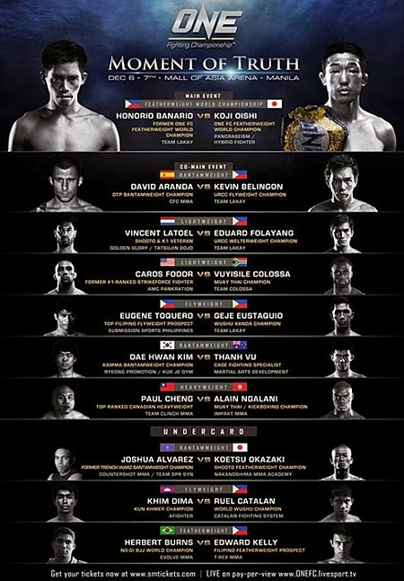 Official ONE FC Moment Truth Fight Card