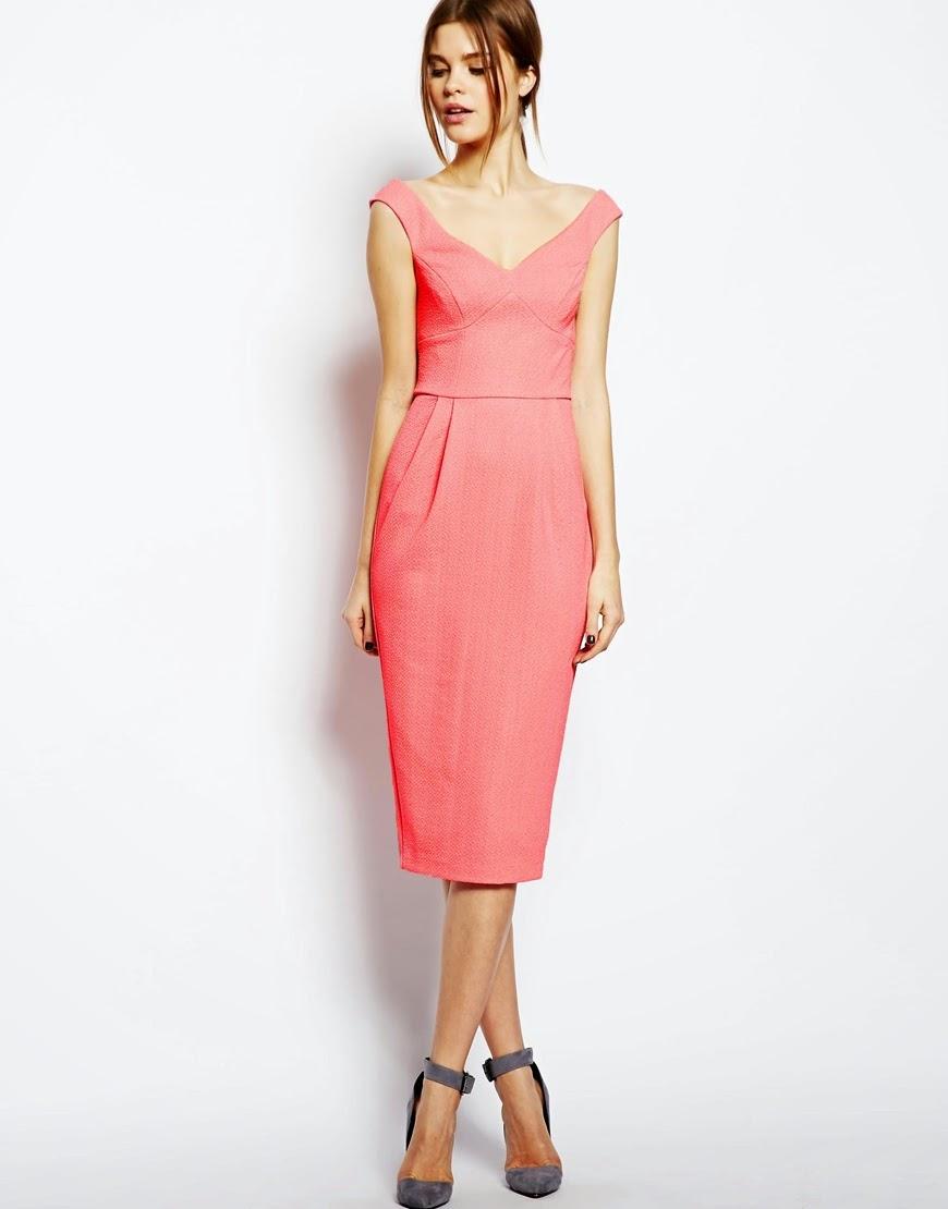 asos coral dress