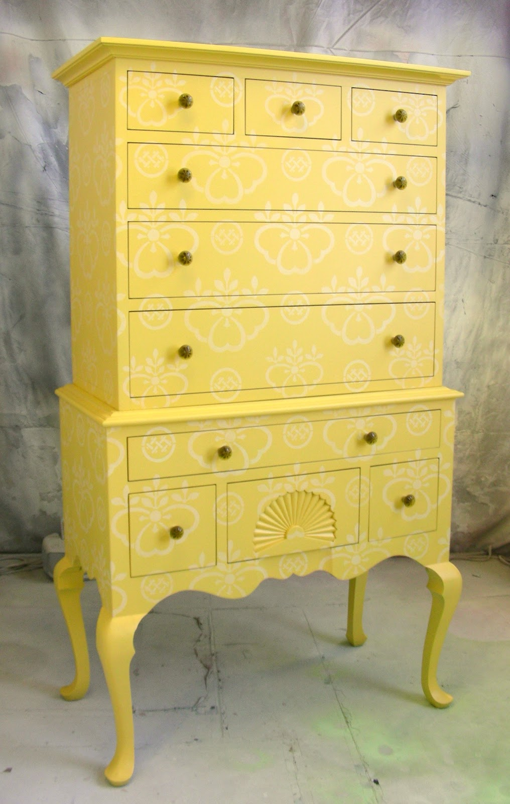 sydney barton painted furniture yellow stenciled highboy