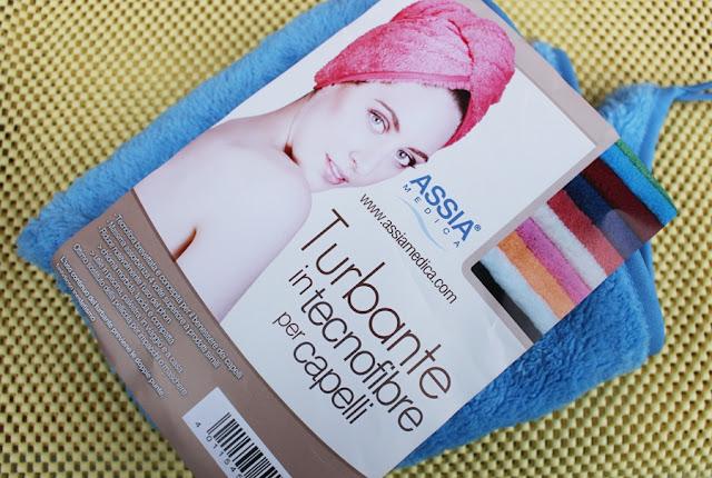 turbante per asciugare i capelli
