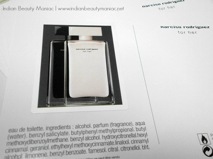 Narciso Rodriguez Perfume Card sample