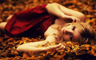 Blonde Red Dress Lying Leaves Autumn Photo HD Wallpaper