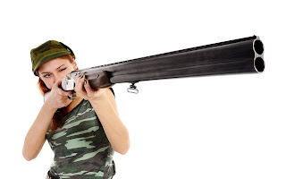 Girl with Hunter Shotgun and Military T-Shirt HD Wallpaper