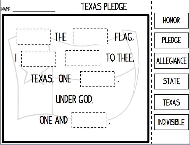 Peaceful image with texas pledge printable