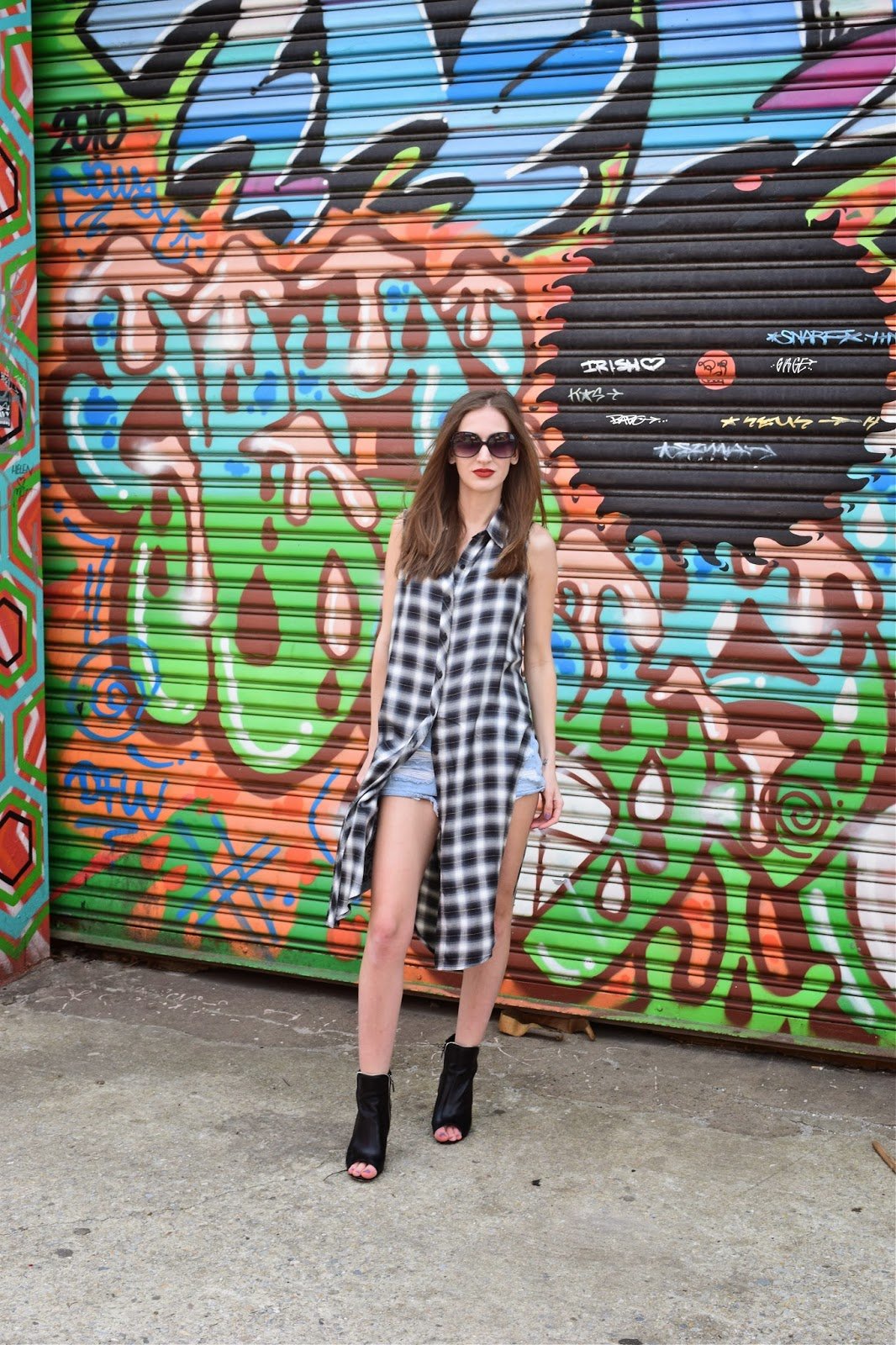wearing forever 21 high slit plaid shirt dress, forever 21 denim cutoffs, grungy spring look