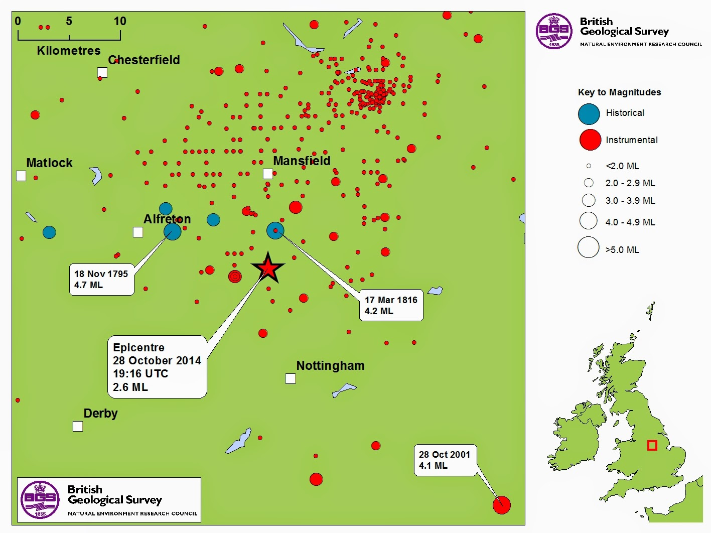 a map of historical and instrumental seismicity around the mansfield and nottingham area the m3 6 mansfield quake of 1990 can be seen as the