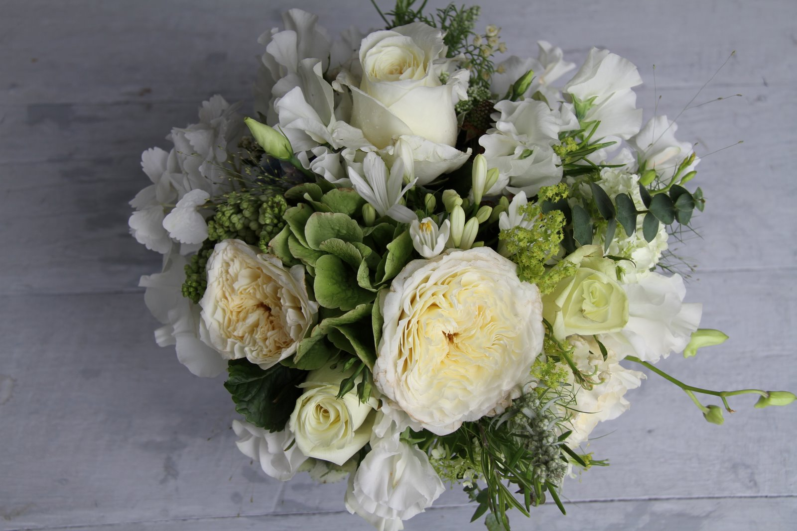 The Flower Magician White Cream Green Wedding Bouquet