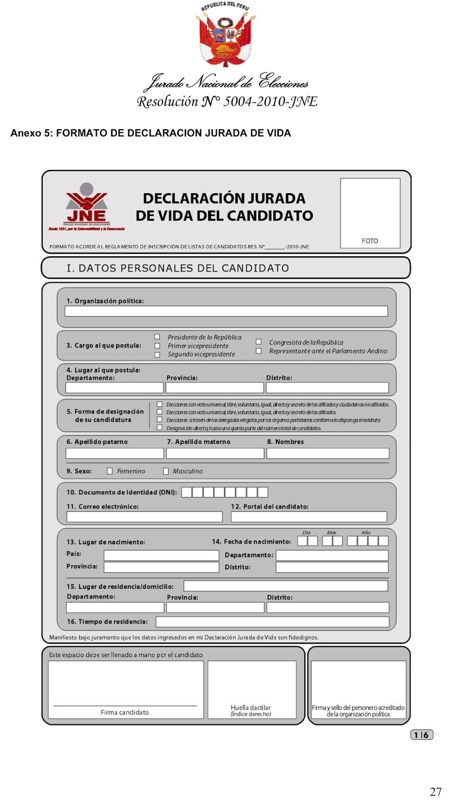 Formato de declaración Jurada de Vida del Candidato/a ~ FrenteAmplio.pe