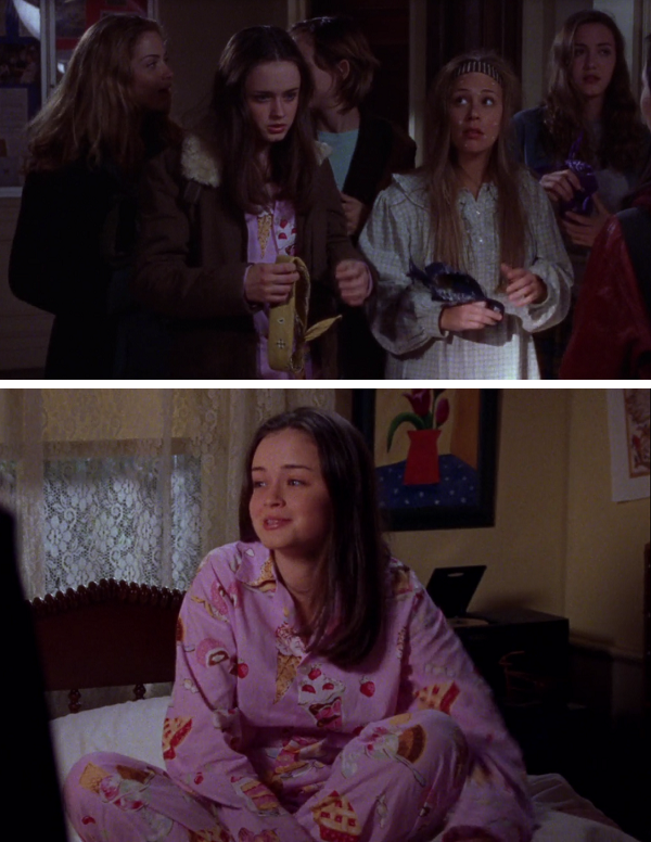 Screen stills of Rory's cake pajamas from Gilmore Girls episode 'Like Mother, Like Daughter'