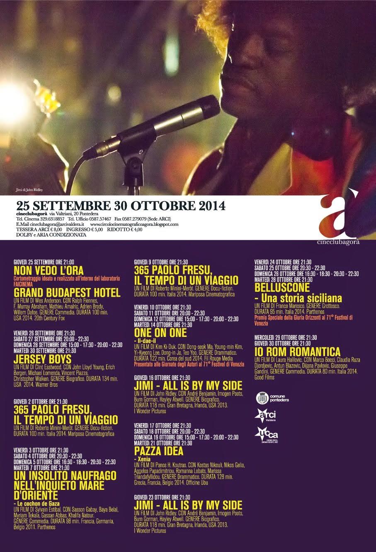 Programma dal 25 settembre al 30 ottobre 2014