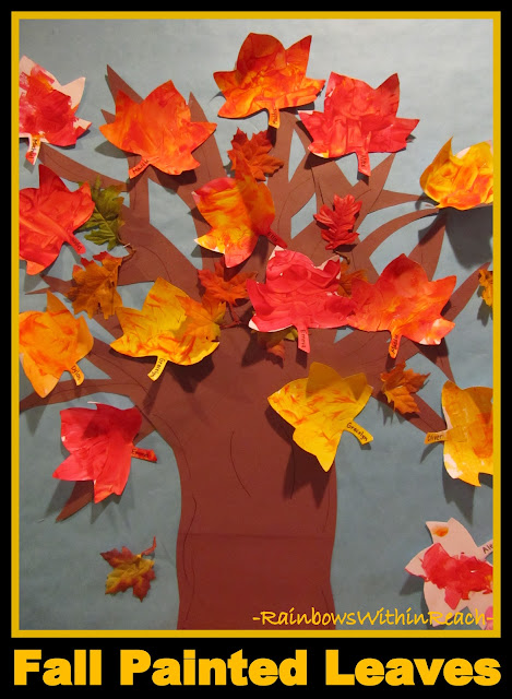 Fall Painted Leaves Displayed on Autumn Bulletin Board (RainbowsWithinReach)