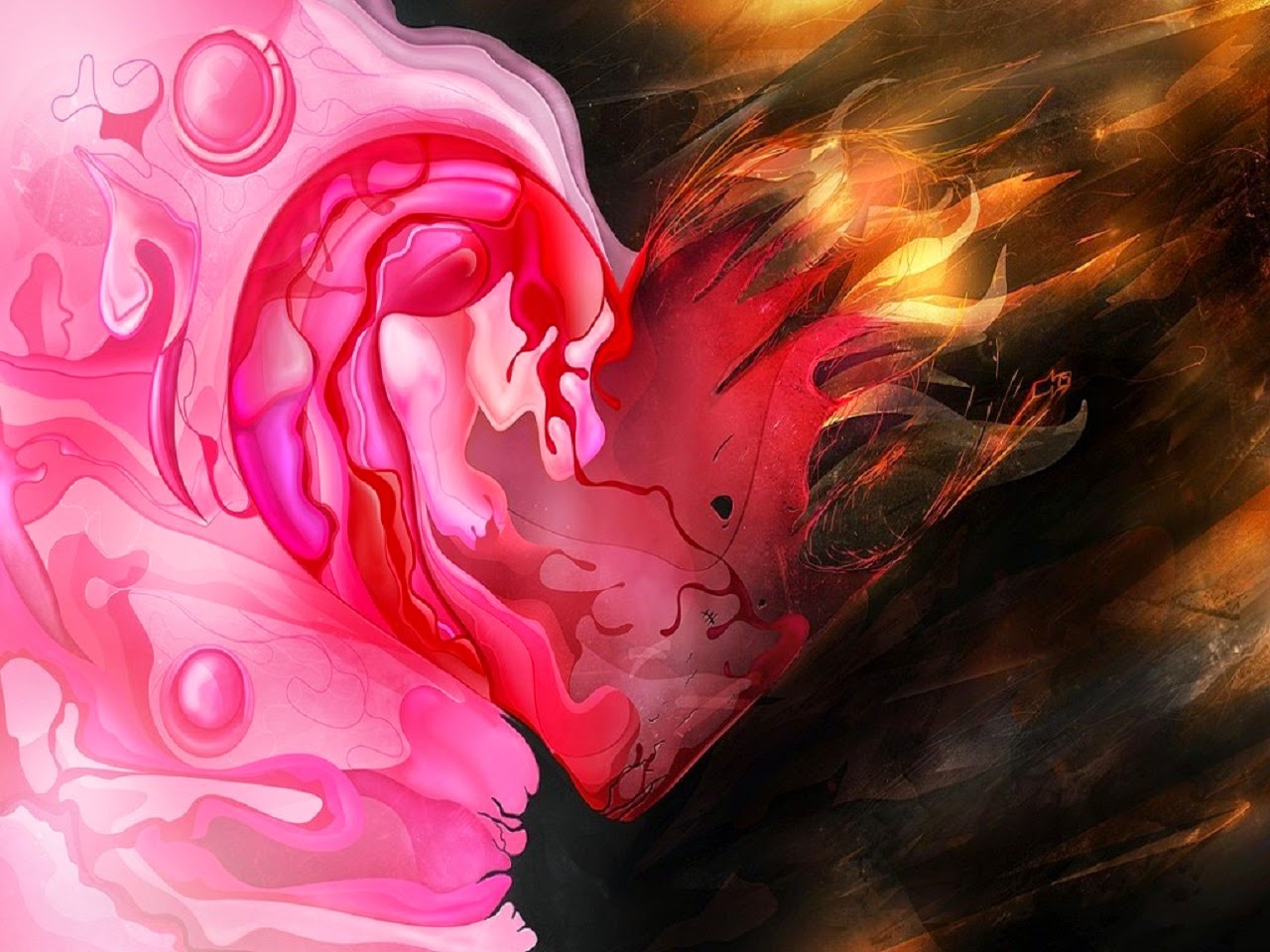 Love Heart Blood Wallpaper : Romantic Love Heart Designs HD cover Wallpaper PIXHOME