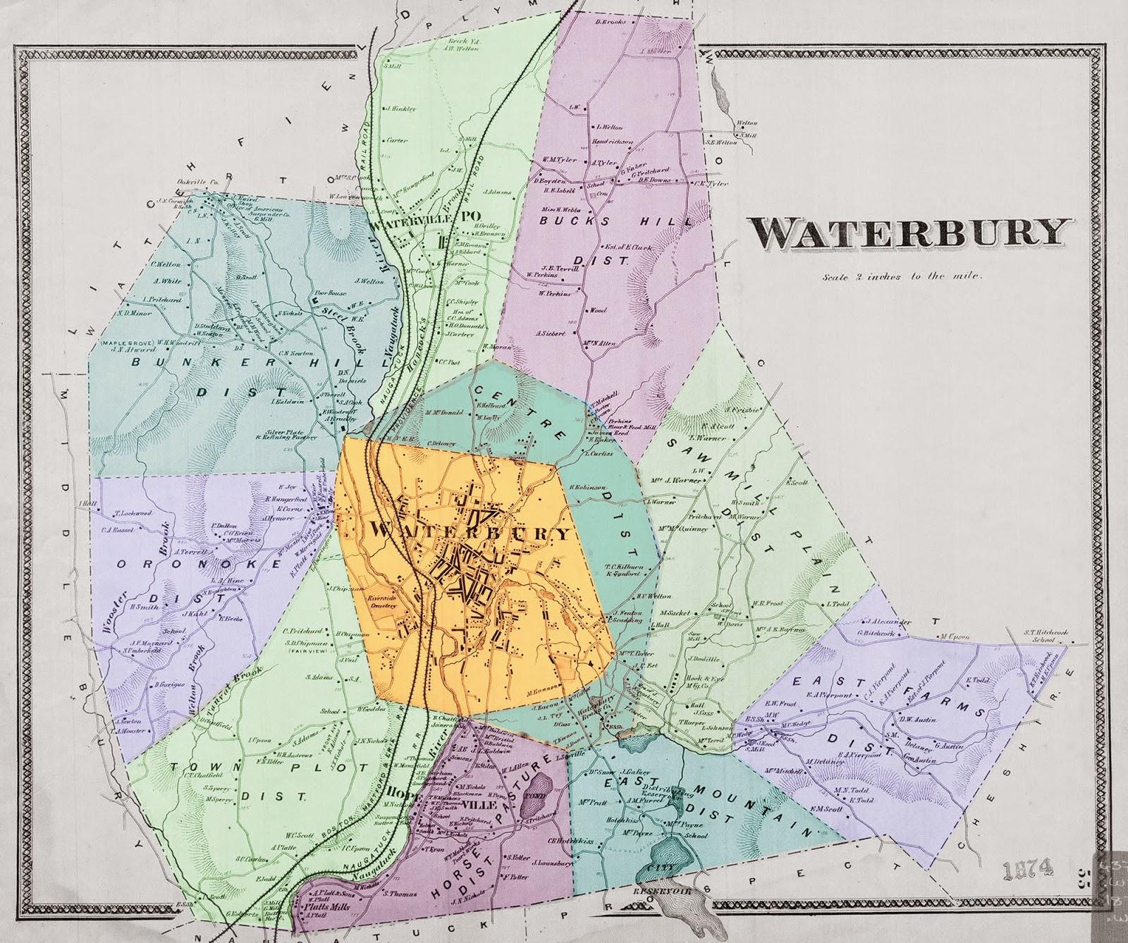 1874 map of waterbury showing the city of waterbury for The waterbury